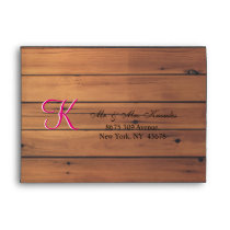 Country Barn Wood Cherry Wooden Wall 3d Monogram Envelope