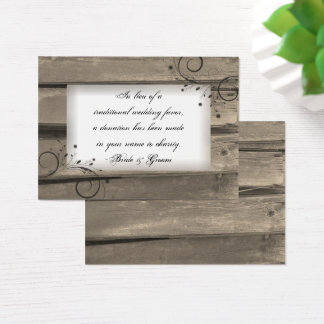 Country Barn Wood Flowers Wedding Charity Favor Business Card