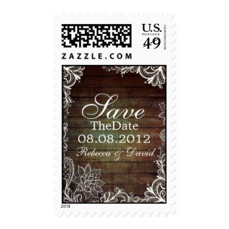 country barn wood lace rustic save the date postage stamp