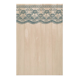 Country Barn Wood & Lace Stationery Paper