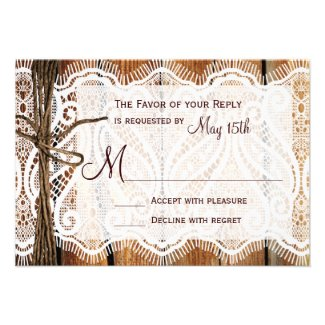Country Barn Wood Lace Twine Wedding RSVP Cards