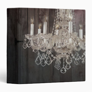 Country barn wood Parisian vintage chandelier 3 Ring Binder