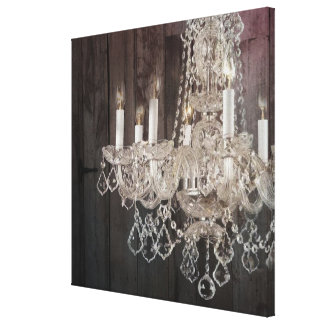 Country barn wood Parisian vintage chandelier Canvas Print