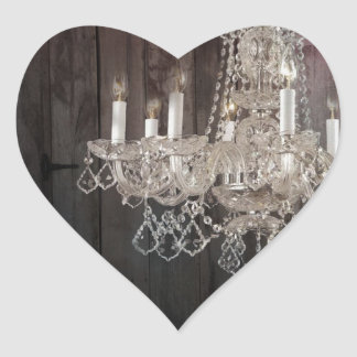 Country barn wood Parisian vintage chandelier Heart Sticker
