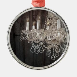 Country barn wood Parisian vintage chandelier Metal Ornament