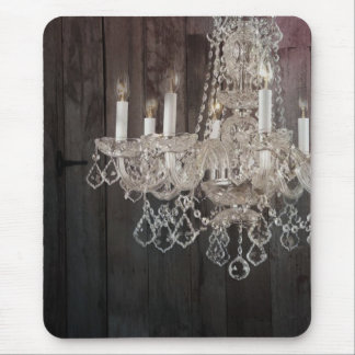 Country barn wood Parisian vintage chandelier Mouse Pad