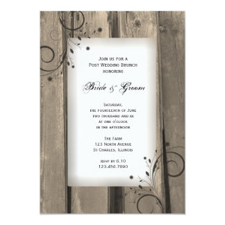 Country Barn Wood Post Wedding Brunch 5x7 Paper Invitation Card