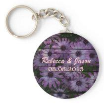 country barn wood  purple daisy wedding keychain