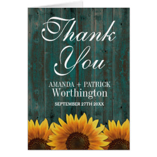 Country Barn Wood Rustic Sunflower Thank You Cards