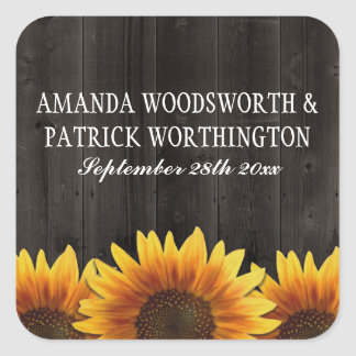 Country Barn Wood Rustic Sunflower Wedding Favors Square Sticker