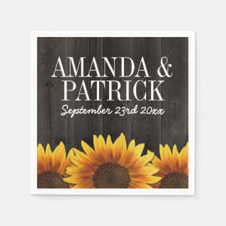 Country Barn Wood + Rustic Sunflower Wedding Paper Napkin at Zazzle