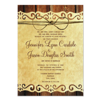 Country Barn Wood Vintage Paper Wedding Invitation Personalized Invitation