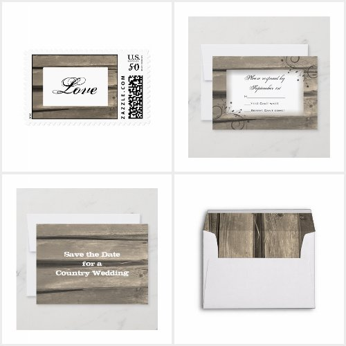 Country Barn Wood Wedding Stationery Products