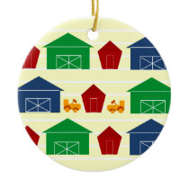 Country Barns on Stripes Ceramic Ornament