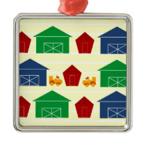 Country Barns on Stripes Metal Ornament
