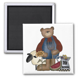 Country Bear 7th Birthday Gifts 2 Inch Square Magnet