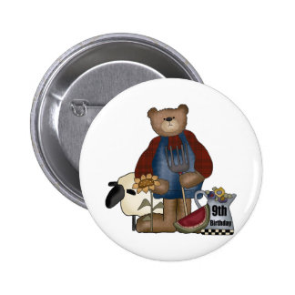 Country Bear 9th Birthday Gifts Button