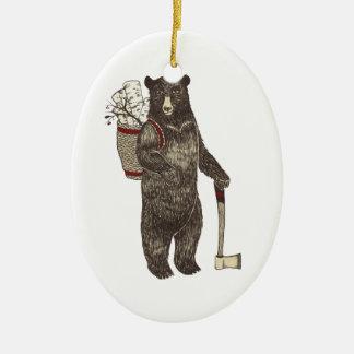 Country Bear Christmas Ceramic Ornament