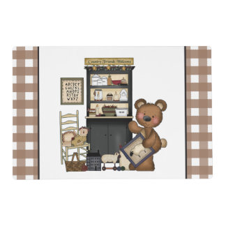 Country Bear laminated place mat double sided