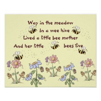 Country Bees and Flowers Nursery Rhyme Poster