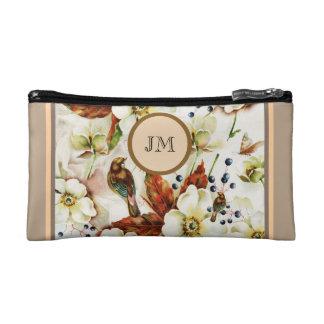 Country bird garden monogram girly makeup bag