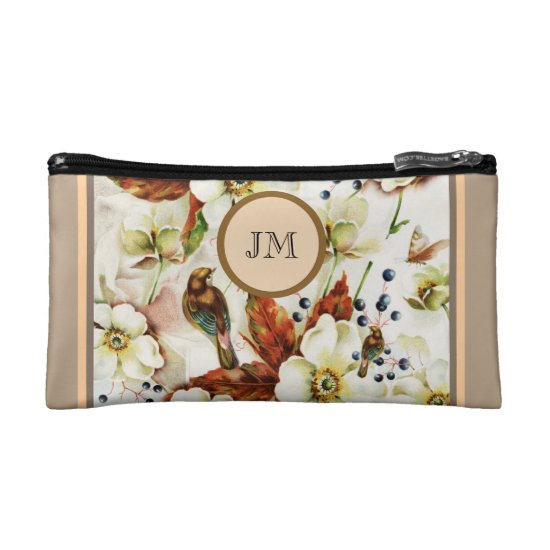 Country bird garden monogram girly makeup bag