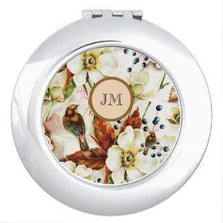 Country bird garden monogram girly makeup mirror