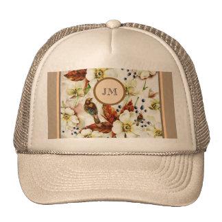 Country bird garden monogram girly trucker hat
