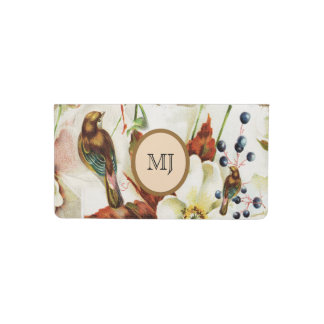 Country bird garden vintage flowers checkbook cover