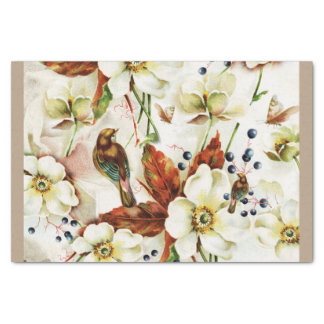 Country bird garden vintage flowers tissue paper