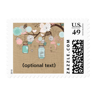Country Blue and Pink Mason Jar Postage on Burlap