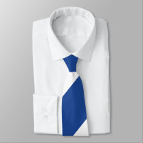 Country Blue and White Broad Regimental Stripe Neck Tie