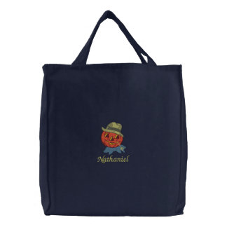 Country Blue Bow Scarecrow Pumpkin Jack-O-Lantern Embroidered Bags