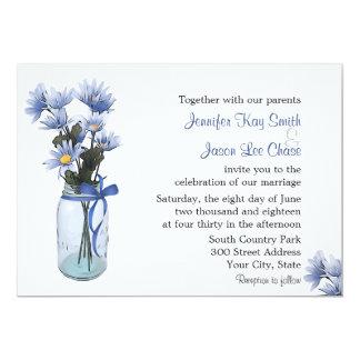 Country Blue Daisies Mason Jar Wedding Invitation
