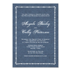 Country Blue Denim and Barb Wire Invitation
