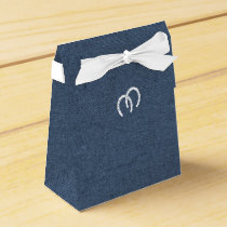 Country Blue Denim and Horseshoes Favor Box