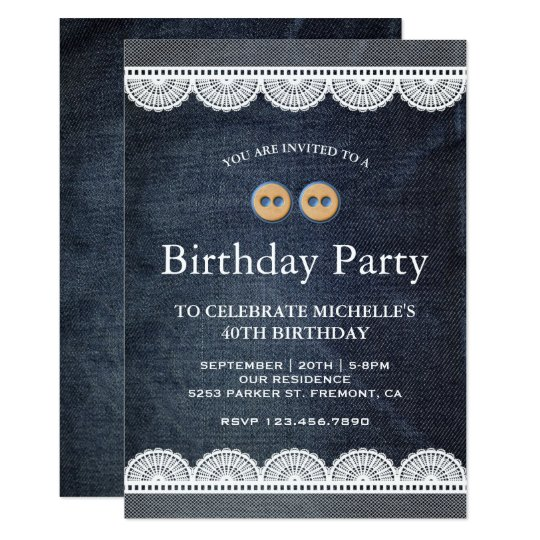 Country Blue Denim White Lace Birthday Party Invitation