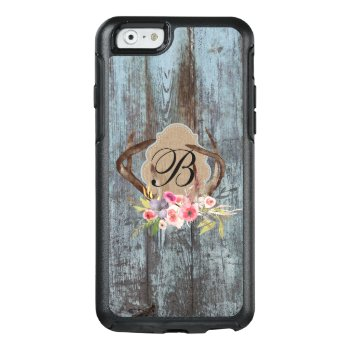 Country Blue Faux Wood Floral Antlers Monogrammed Otterbox Iphone 6/6s Case by GiftShopOnline at Zazzle