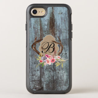 Country Blue Faux Wood Floral Antlers Monogrammed OtterBox Symmetry iPhone 7 Case