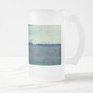 Country Blue Field 16 Oz Frosted Glass Beer Mug