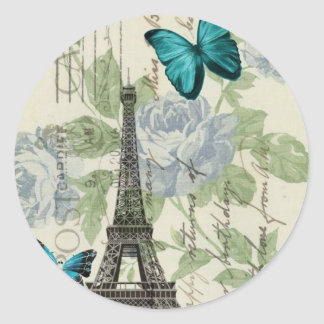 Country Blue floral butterfly paris eiffel tower Classic Round Sticker