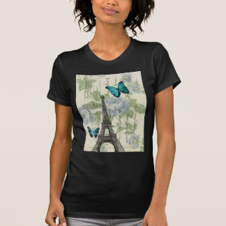 Country Blue floral butterfly paris eiffel tower T-Shirt