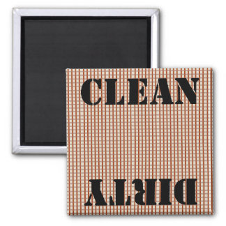 Country Blue Gingham Checks Clean Dirty 2 Inch Square Magnet