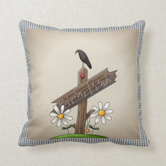 Country Blue Gingham Welcome Friends Throw Pillow