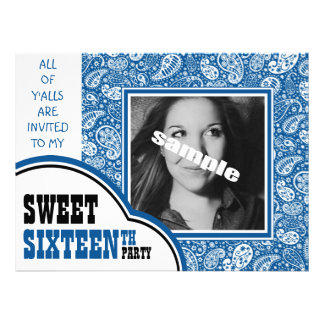 Country Blue Paisley Girl Photo Sweet 16th Party Invitations