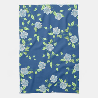 Country Blue Roses and Green Vines Towel