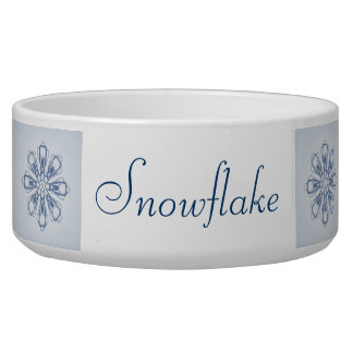 Country Blue Snowflake Pet Bowl