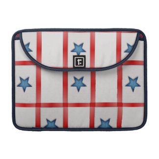 Country Blue Star Patriotic Checks MacBook Pro Sleeves