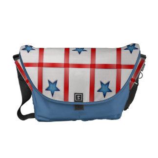 Country Blue Star Patriotic Checks Courier Bag