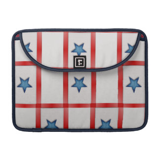 Country Blue Star Patriotic Checks Sleeve For MacBook Pro